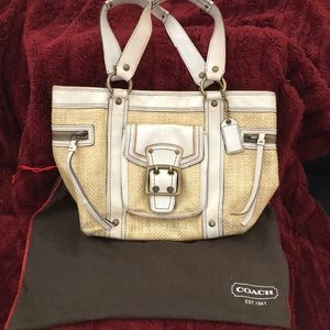 Coach beige and yellow and bronze handbag!